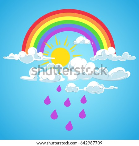rainbow and clouds with falling rain blue sky. Weather rain and sun illustration