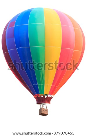 Rainbow colorful hot air balloon with basket isolate on white background with clipping path - stock photo