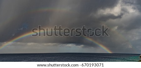 Rainbow over the sea   Curacao a small Caribbean island