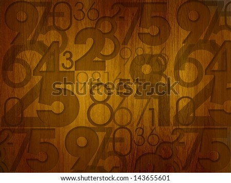 random numbers on wooden desk background - stock photo