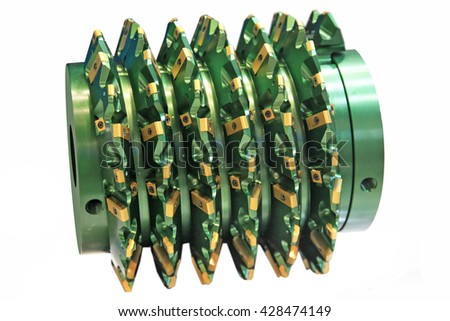 rapid steel hobbing cutter with coating for cog wheels gears machining on factory - stock photo