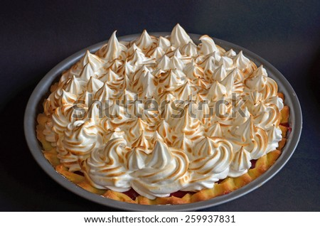 Raspberry Meringue Pie - stock photo