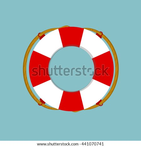 Raster illustration lifebuoy isolated on blue background. Life ring, life preserver, life buoy icon flat design - stock photo