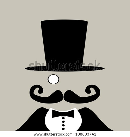 raster illustration of carnival circus barker with giant handlebar mustache - stock photo