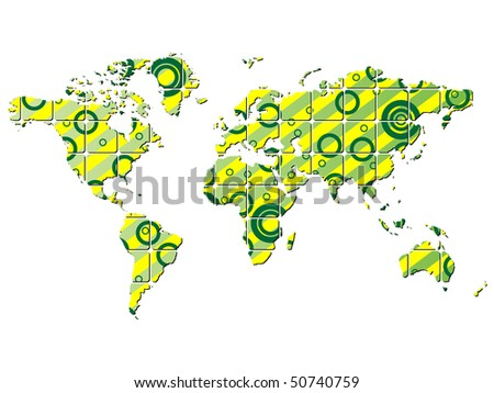 (raster image of vector) abstract world map
