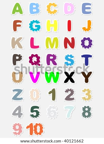 (raster image of vector) Alphabet and numbers