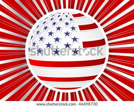 (raster image of vector) american flag ball - stock photo