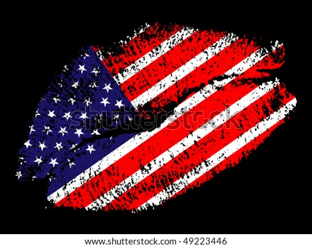 (raster image of vector) american kiss - stock photo