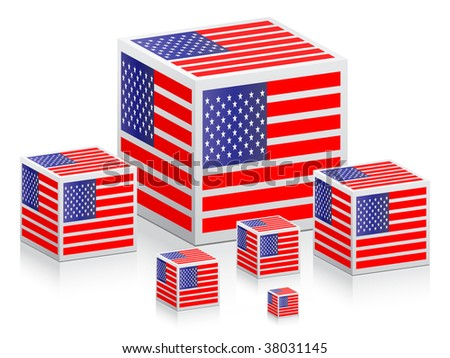 (raster image of vector) boxes with american flag