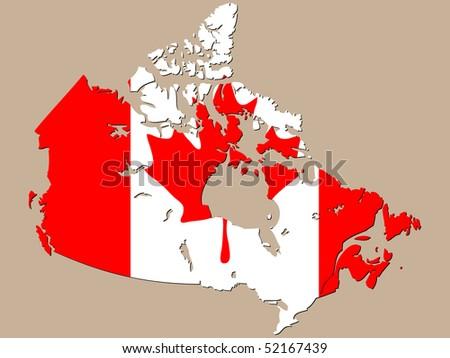(raster image of vector) canadian map - stock photo