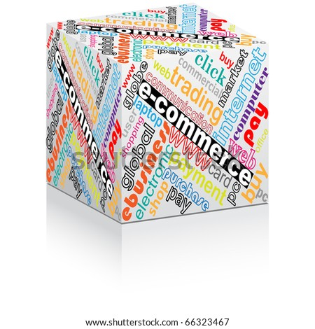 (raster image of vector) colorful e-commerce box - stock photo