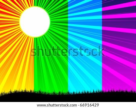 (raster image of vector) colorful sunshine - stock photo