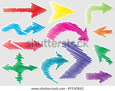(raster image of vector) different shape of arrows - stock photo