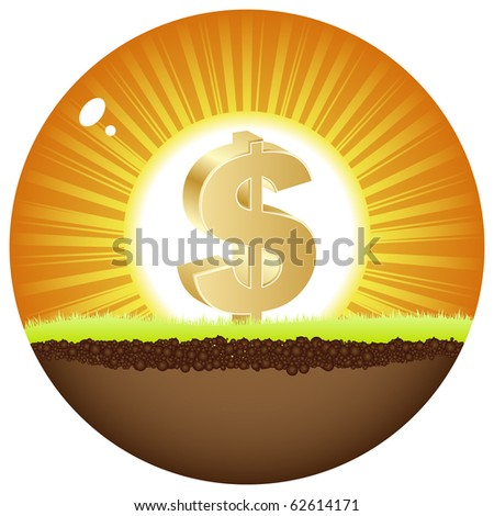 (raster image of vector) dollar view in sunshine - stock photo