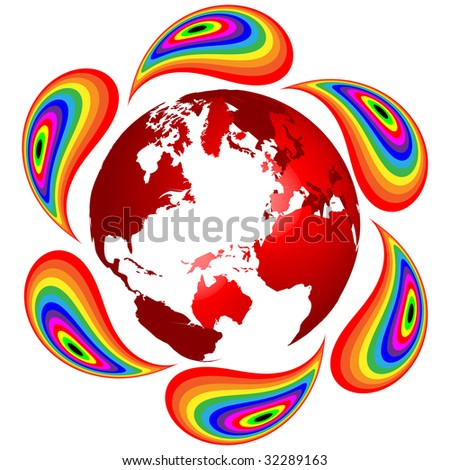 (raster image of vector) ecological earth - stock photo