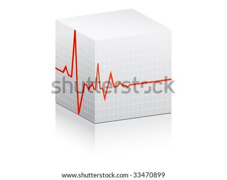 (raster image of vector) heart pulse on white box - stock photo