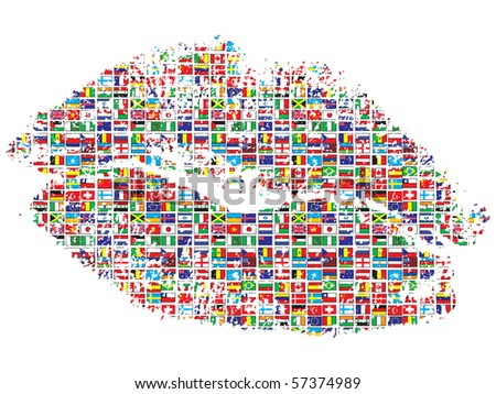 (raster image of vector) kiss of the world - stock photo