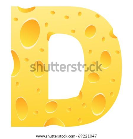 (raster image of vector) letter d - stock photo