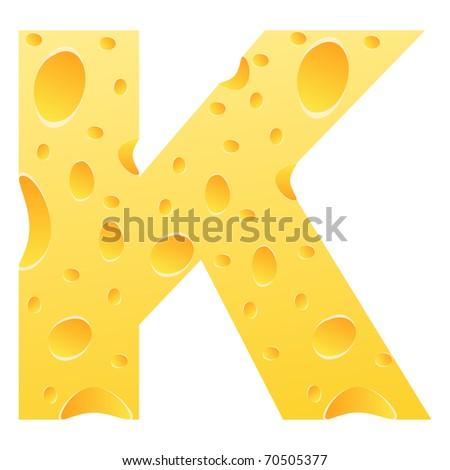 (raster image of vector) letter k - stock photo