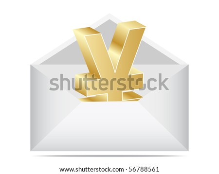 (raster image of vector) letter with yen - stock photo