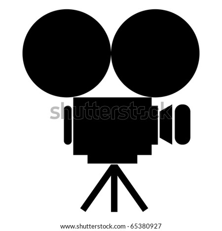 (raster image of vector) movie camera icon - stock photo