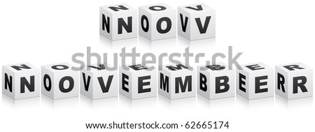 (raster image of vector) november word - stock photo