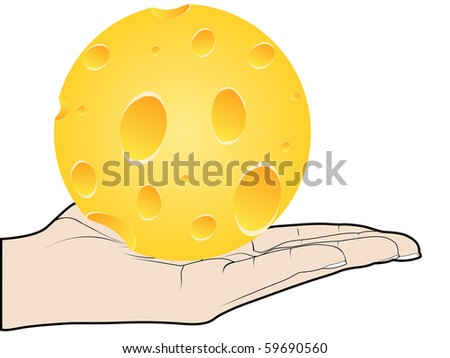 (raster image of vector) piece of cheese offer - stock photo