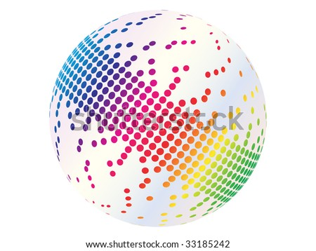 (raster image of vector) pixels on ball - stock photo