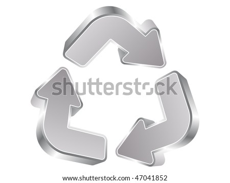 (raster image of vector) recycle silver arrows - stock photo