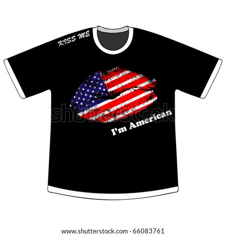 (raster image of vector) t-shirt with american kiss - stock photo