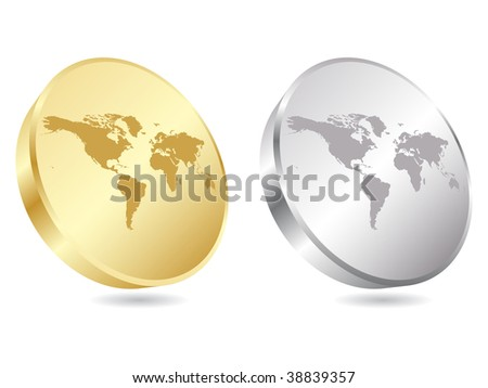 (raster image of vector) world map icon