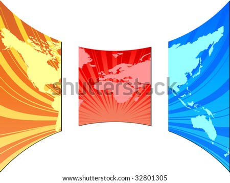(raster image of vector) world map on screen - stock photo