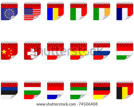 (raster image) stickers with flags