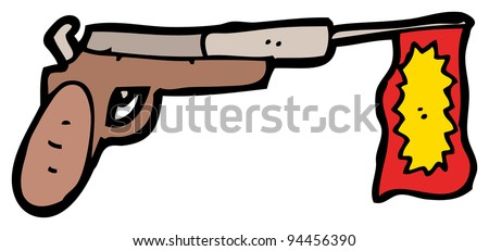 (raster version) cartoon joke pistol - stock photo