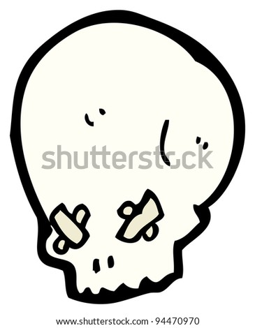(raster version) cartoon spooky skull with eyes taped