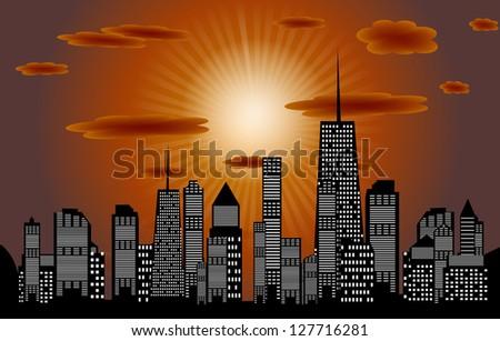 Raster version illustration of cities silhouette. - stock photo