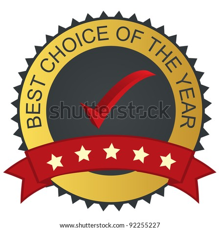 Raster version label - best choice with check mark tick - stock photo