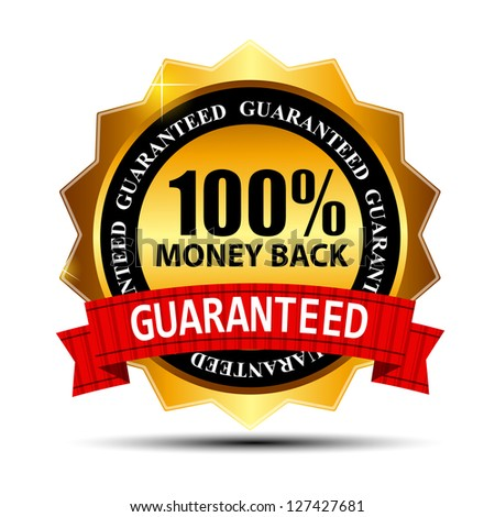 Raster version money back guarantee gold sign, label - stock photo
