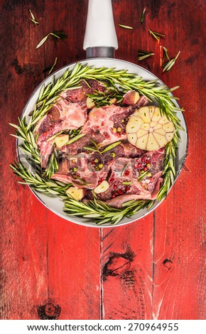 raw lamb loin chops meat in white pan, top view , close up - stock photo