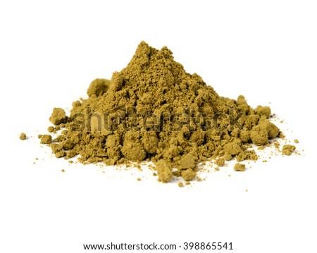 raw organic hemp protein powder isolated on white - stock photo