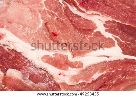 Raw pork steak meat close up surface top view