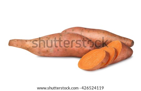 Raw sweet potatoes  isolated on white background
