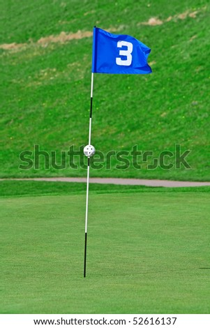 3rd hole of the golf course - stock photo