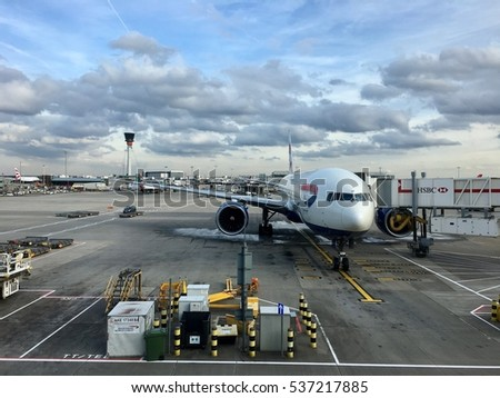 3rd November 2016 - Heathrow Airport Terminal 5: British Airways aeroplane on tarmac of Heathrow airport, conceptual image for air travel.