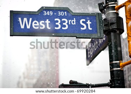 33rd street direction sign in New York in blizzard - stock photo