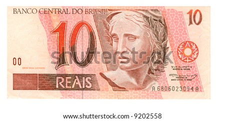 10 real bill of Brazil, pink-brown head of sculpture