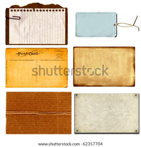 Real Cardboard And Paper Items, Postcard From 1900s And Vintage Tag Each Isolated On White - stock photo