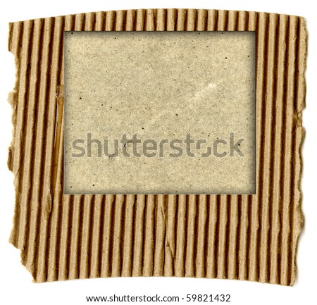 Real Corrugated Cardboard With Cardboard Template Copy Space - stock photo
