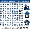 100 real estate & construction signs. raster version - stock vector