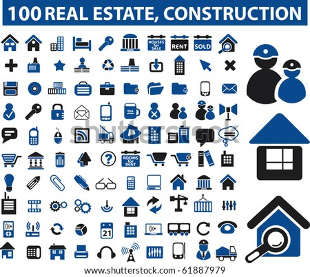 100 real estate & construction signs. raster version - stock photo